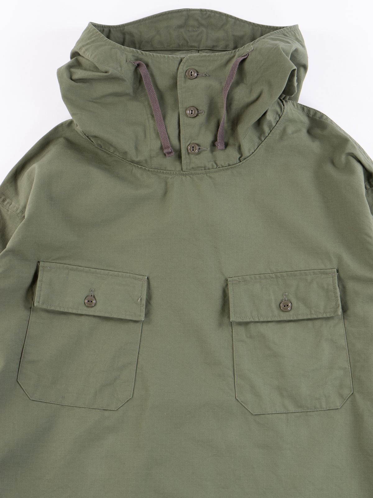 Olive Cotton Ripstop Cagoule Shirt - Image 4