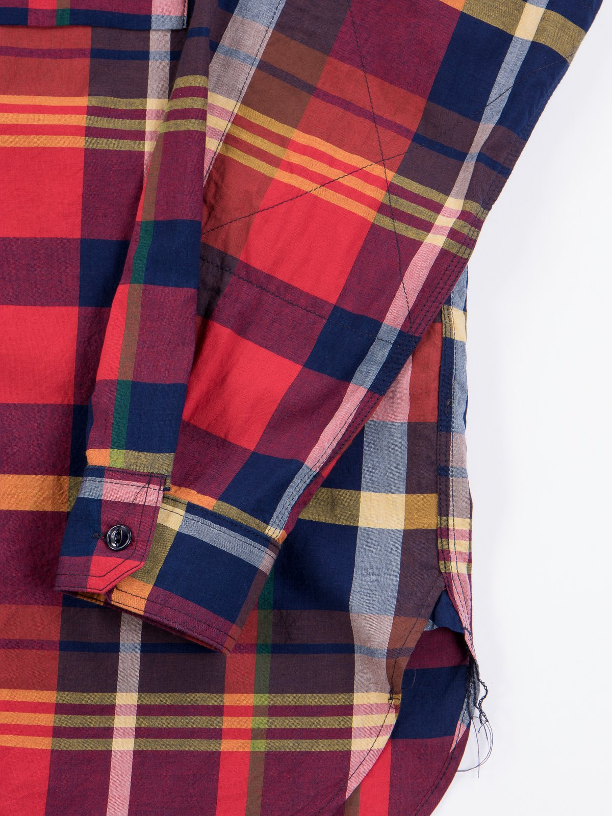 Red/Navy Cotton Big Madras Plaid Work Shirt - Image 4