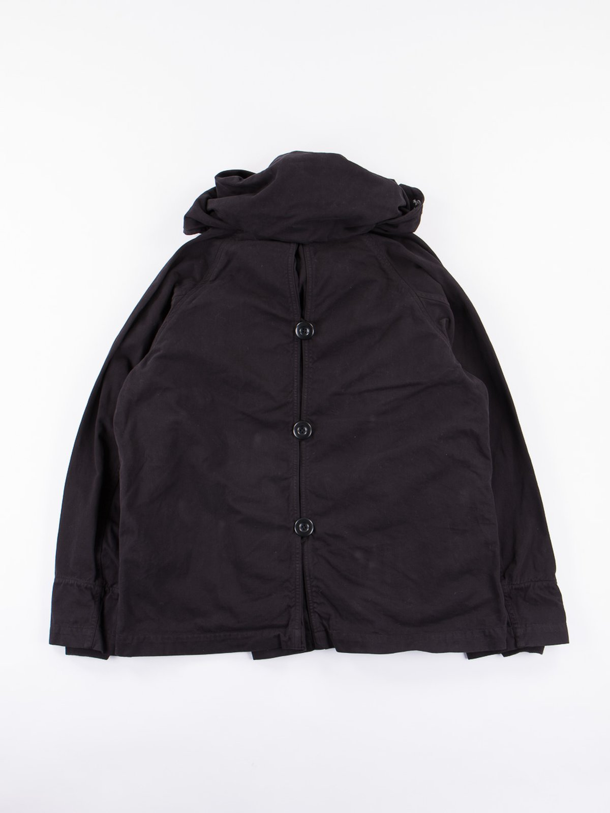 Black Brushed Twill Tri–P Ring Coat - Image 5