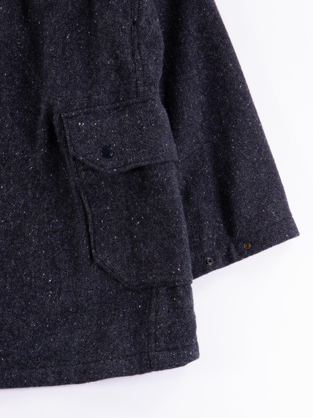 Navy Herringbone Donegal Wool Tweed Madison Parka - Image 13