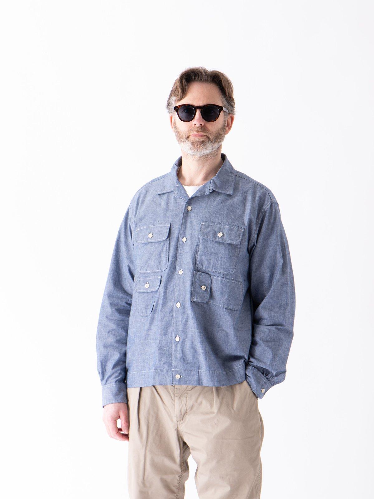 Blue Cotton Chambray Bowling Shirt - Image 2