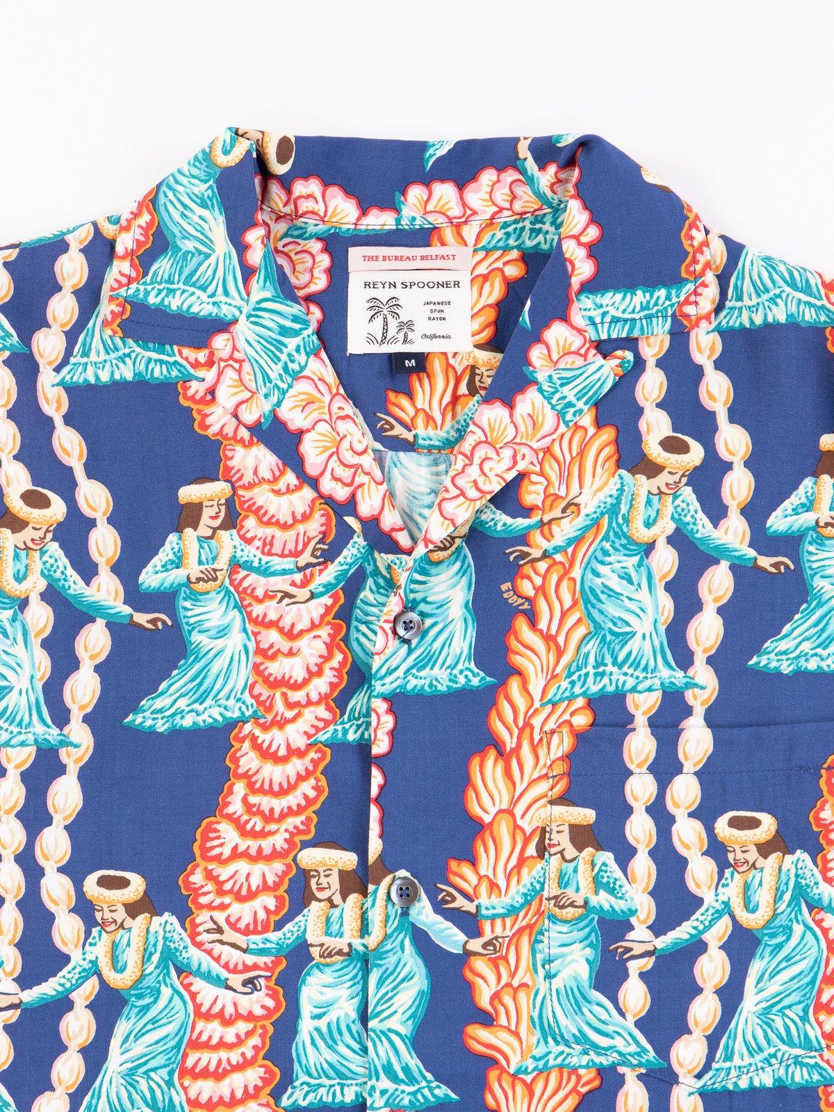 Navy Hula Auana Rayon Camp Shirt - Image 4