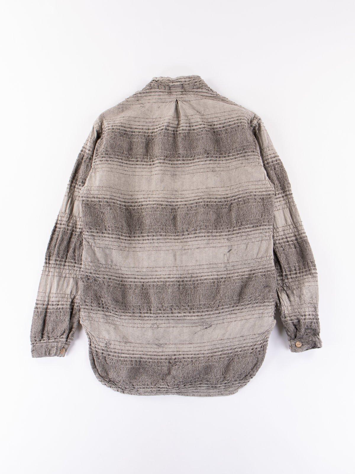 Indian Black Dye Doppler Stripe Calico Periscope Pocket Tail Shirt - Image 6