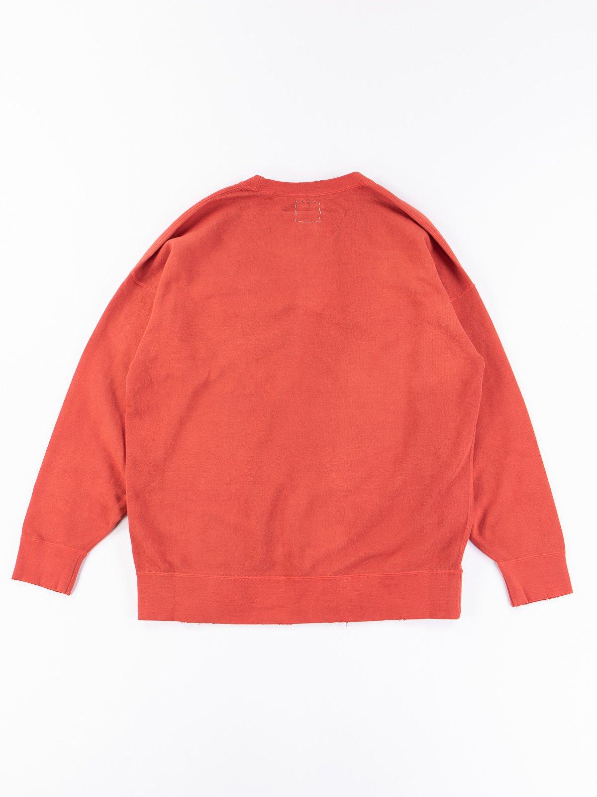 Red Uneven Dye Jumbo Long Sleeve Sweatshirt - Image 4