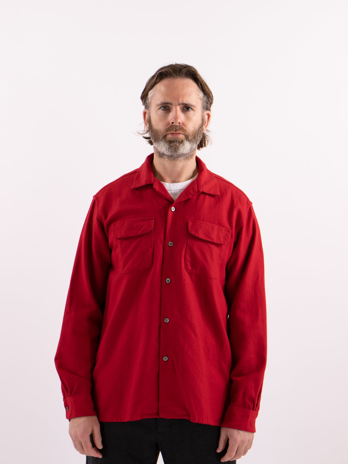 Red Worsted Wool Flannel Classic Shirt - Image 2