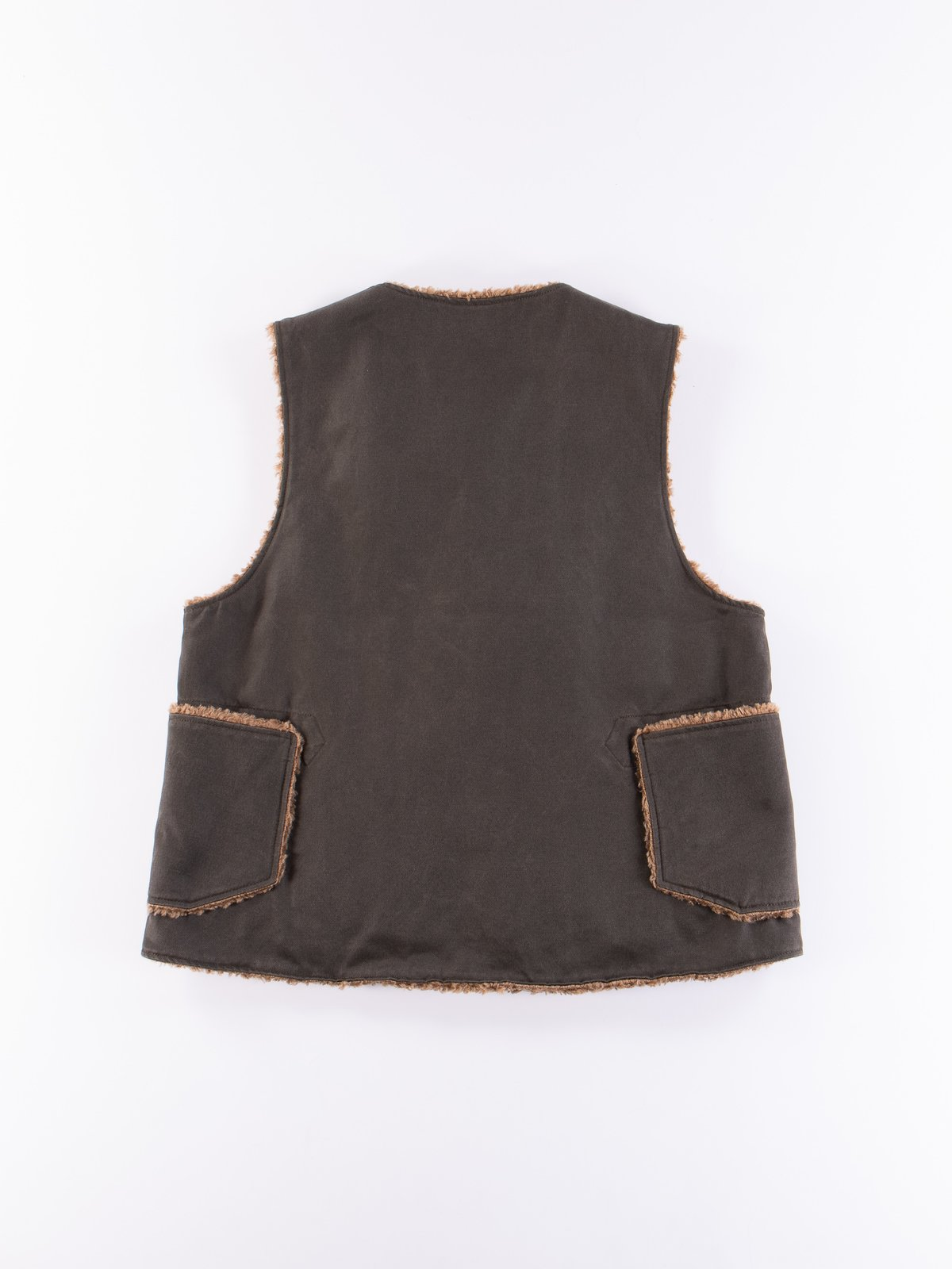 Dark Olive Coated Twill Over Vest - Image 5