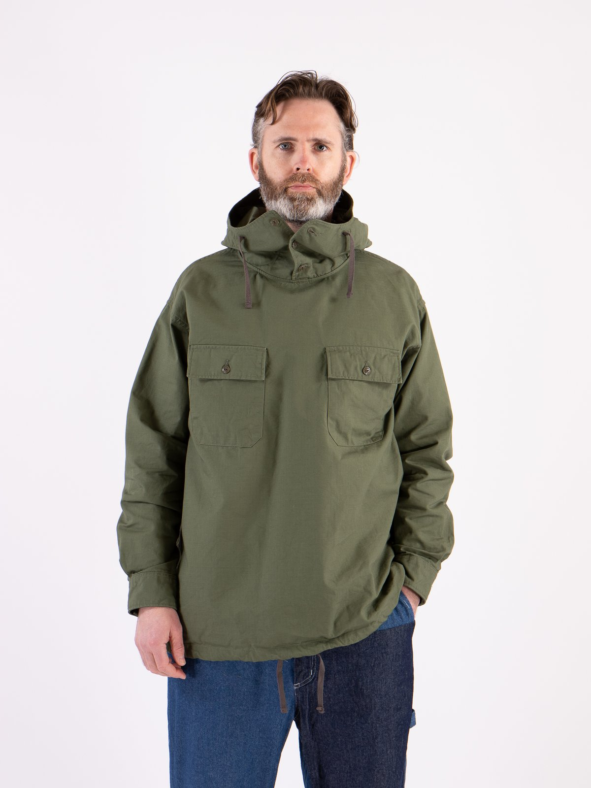 Olive Cotton Ripstop Cagoule Shirt - Image 2