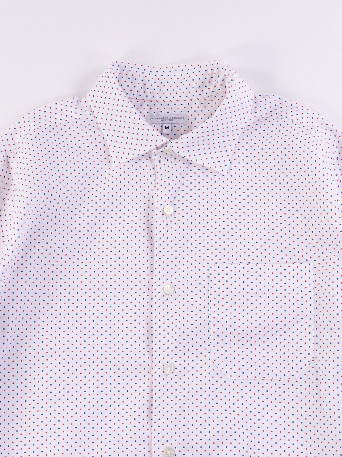 Red/Navy Small Polka Dot Spread Collar Shirt - Image 4