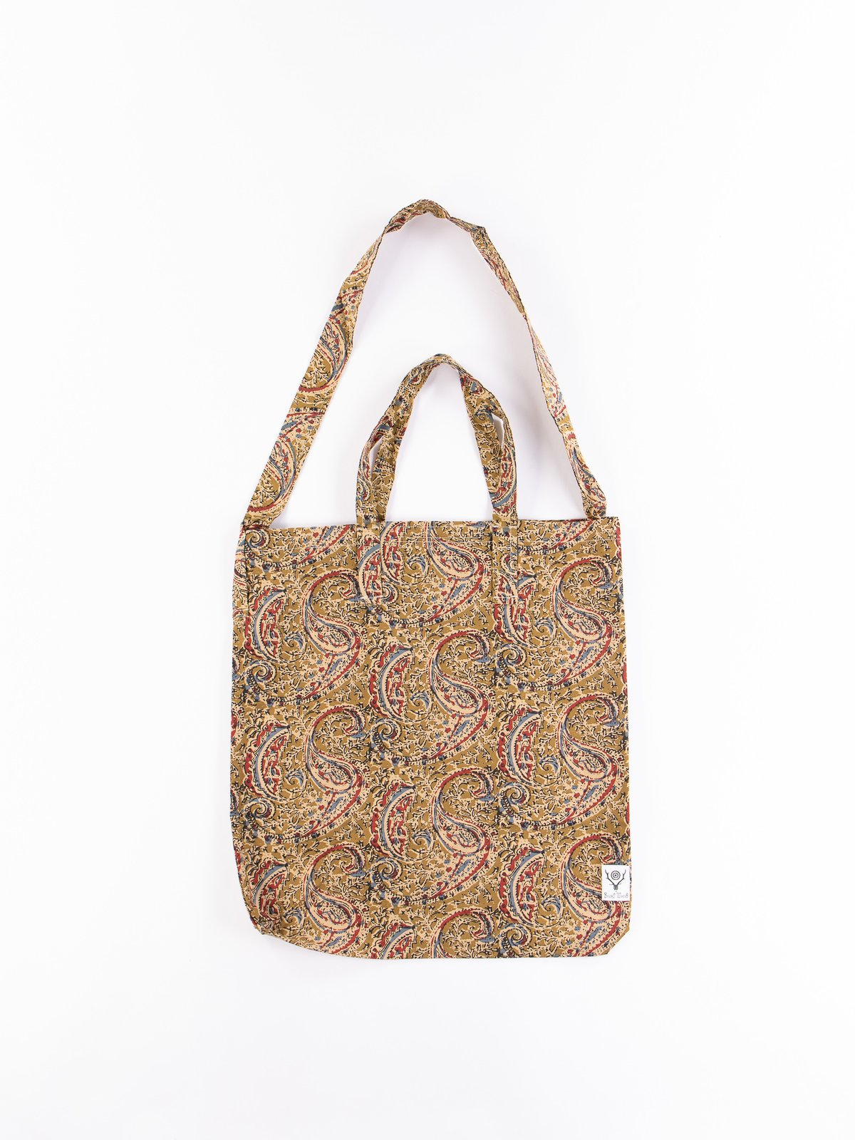 Olive Paisley Printed Flannel Grocery Bag - Image 1
