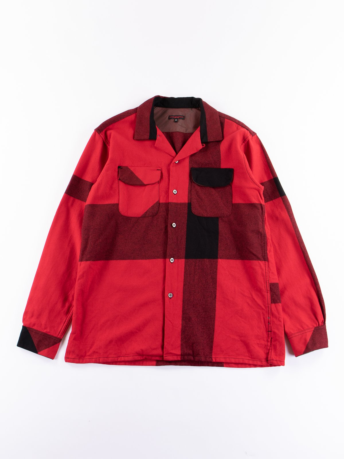 Red/Black Big Plaid Worsted Wool Flannel Classic Shirt - Image 1