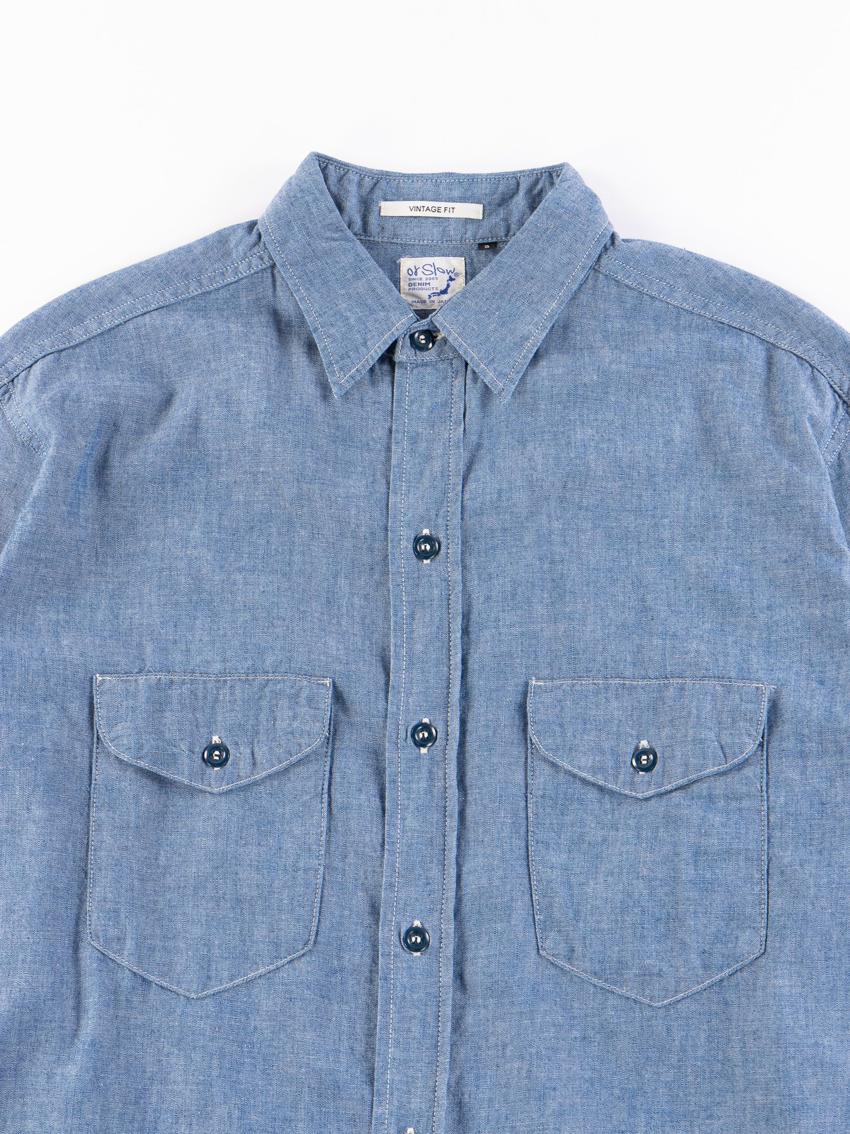 Blue Chambray Vintage Fit Work Shirt - Image 3