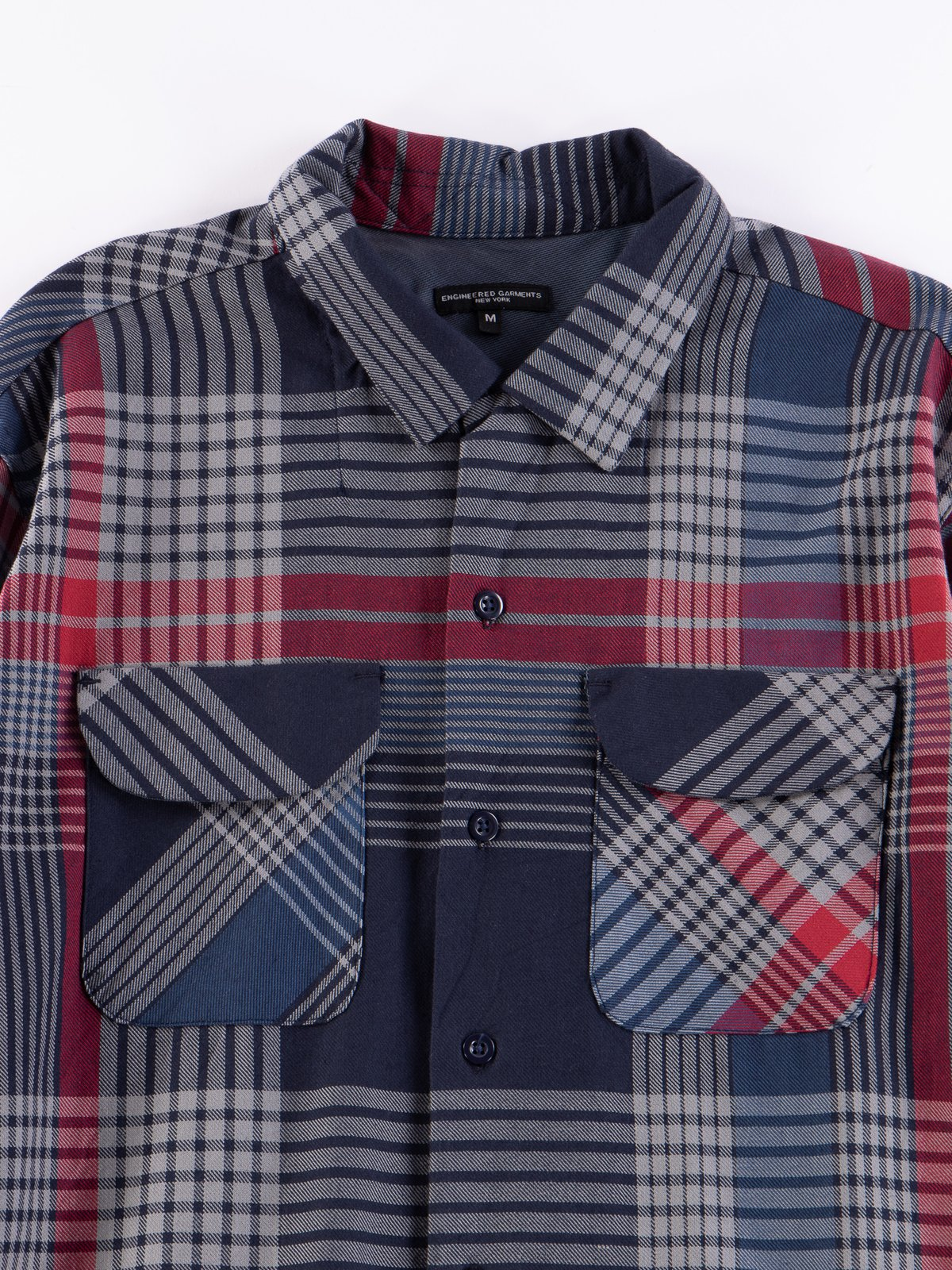 Navy/Grey/Red Cotton Twill Classic Shirt - Image 3
