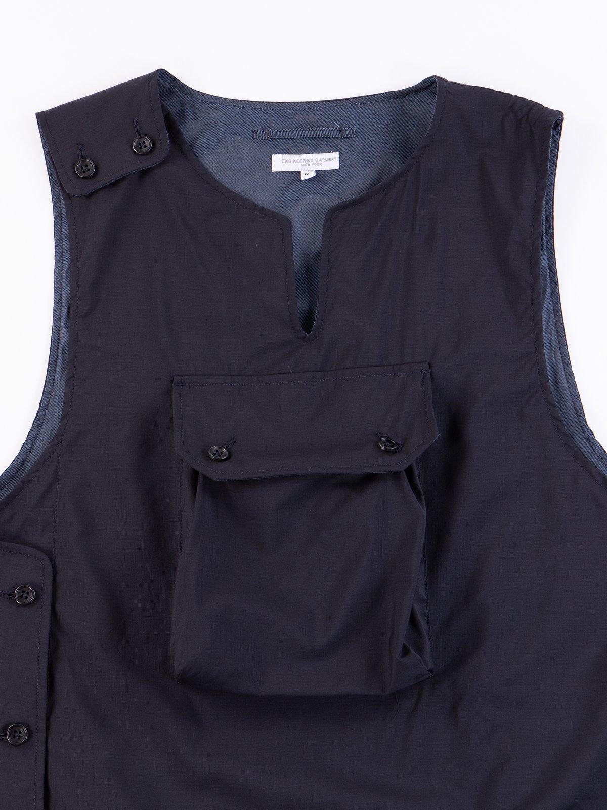 Dark Navy Tropical Wool Cover Vest - Image 3