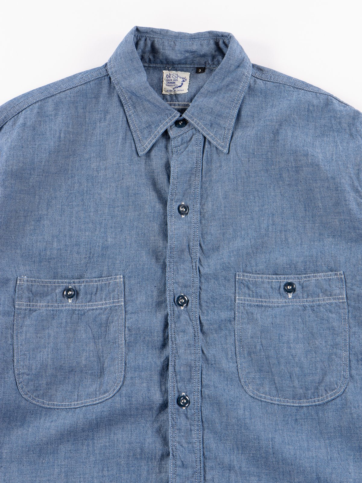 4af333b46ef Blue Chambray Vintage Fit Work Shirt by orSlow – The Bureau Belfast ...