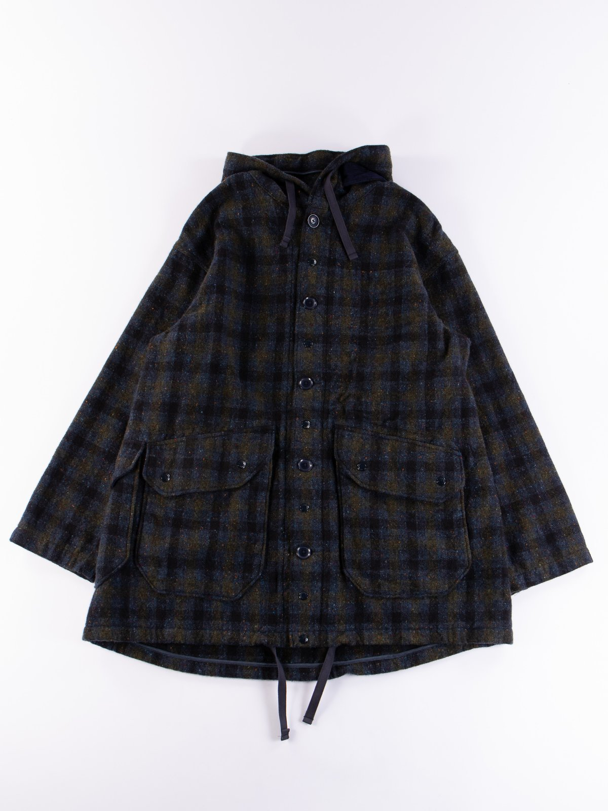 Navy Check Donegal Wool Tweed Madison Parka - Image 1