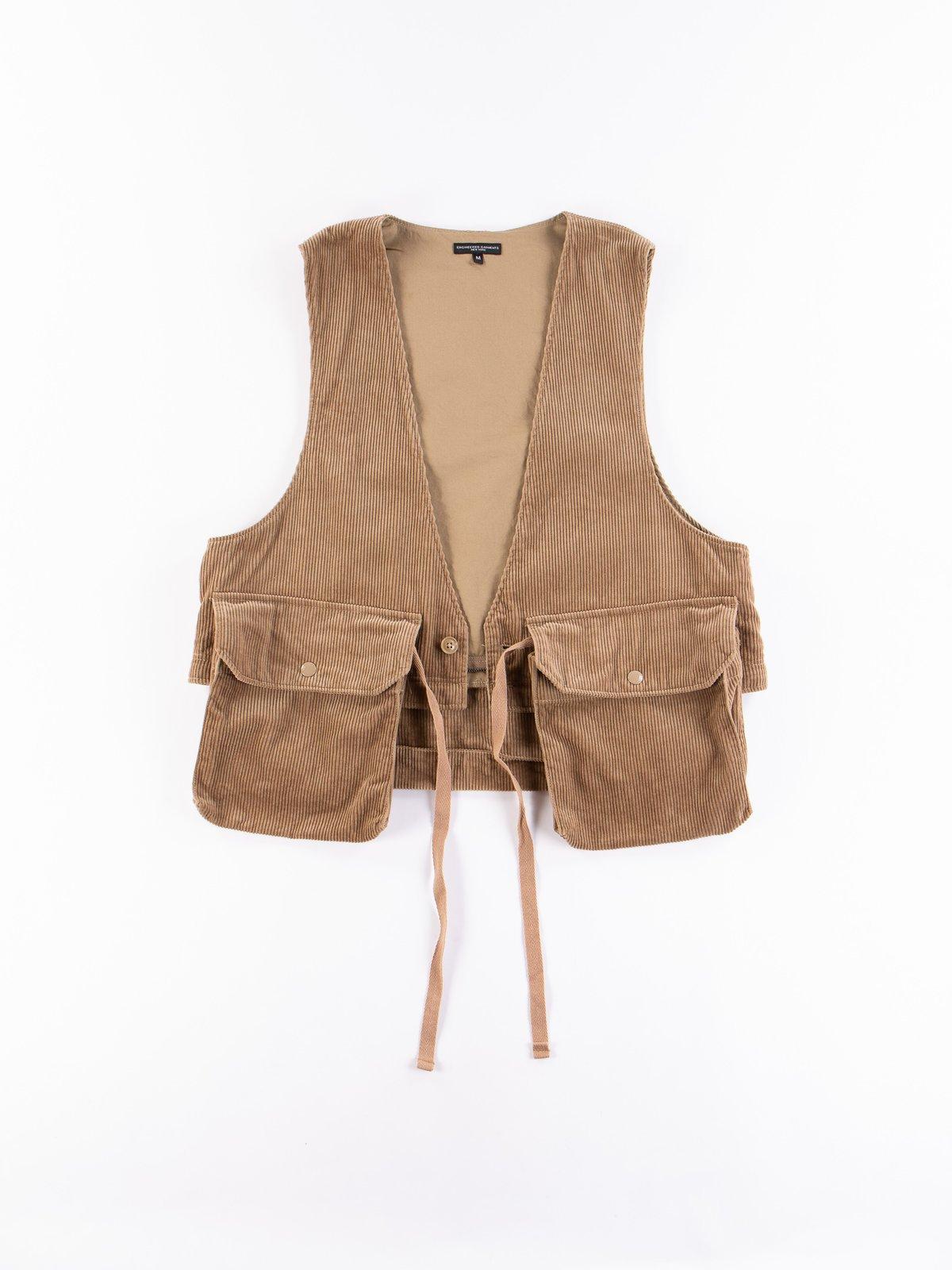 Khaki 8W Corduroy Long Fowl Vest - Image 9