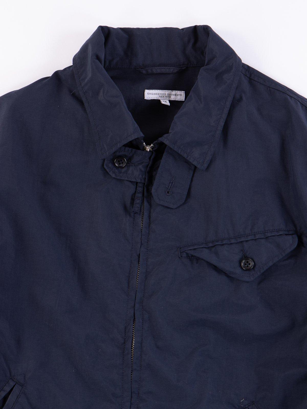 Navy Acrylic Coated Nylon Taffeta Driver Jacket - Image 3