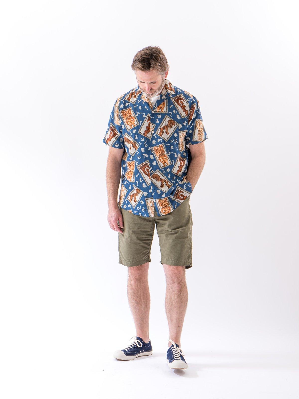 Navy Hawaiian Tikis Rayon Camp Shirt - Image 2
