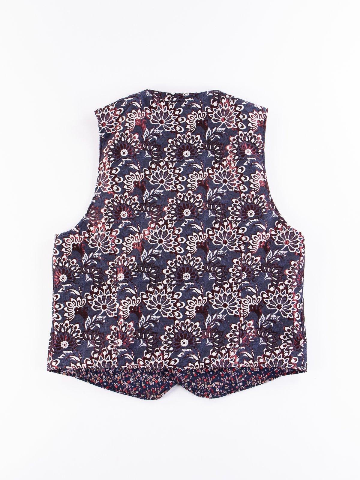 Navy Polyester Mini Floral Jacquard Reversible Vest - Image 7