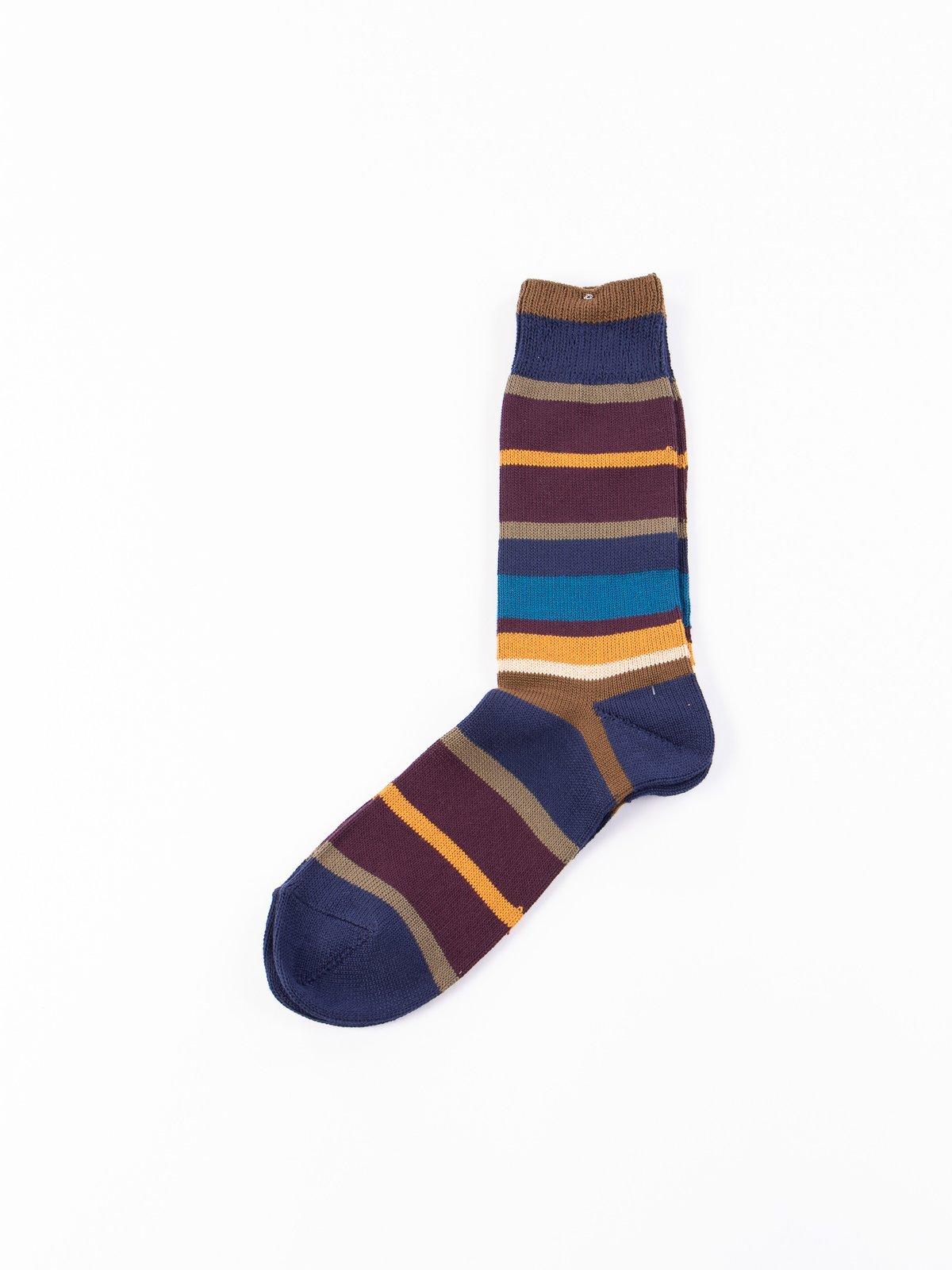 Dark Navy Multi Stripe Crew Socks - Image 1