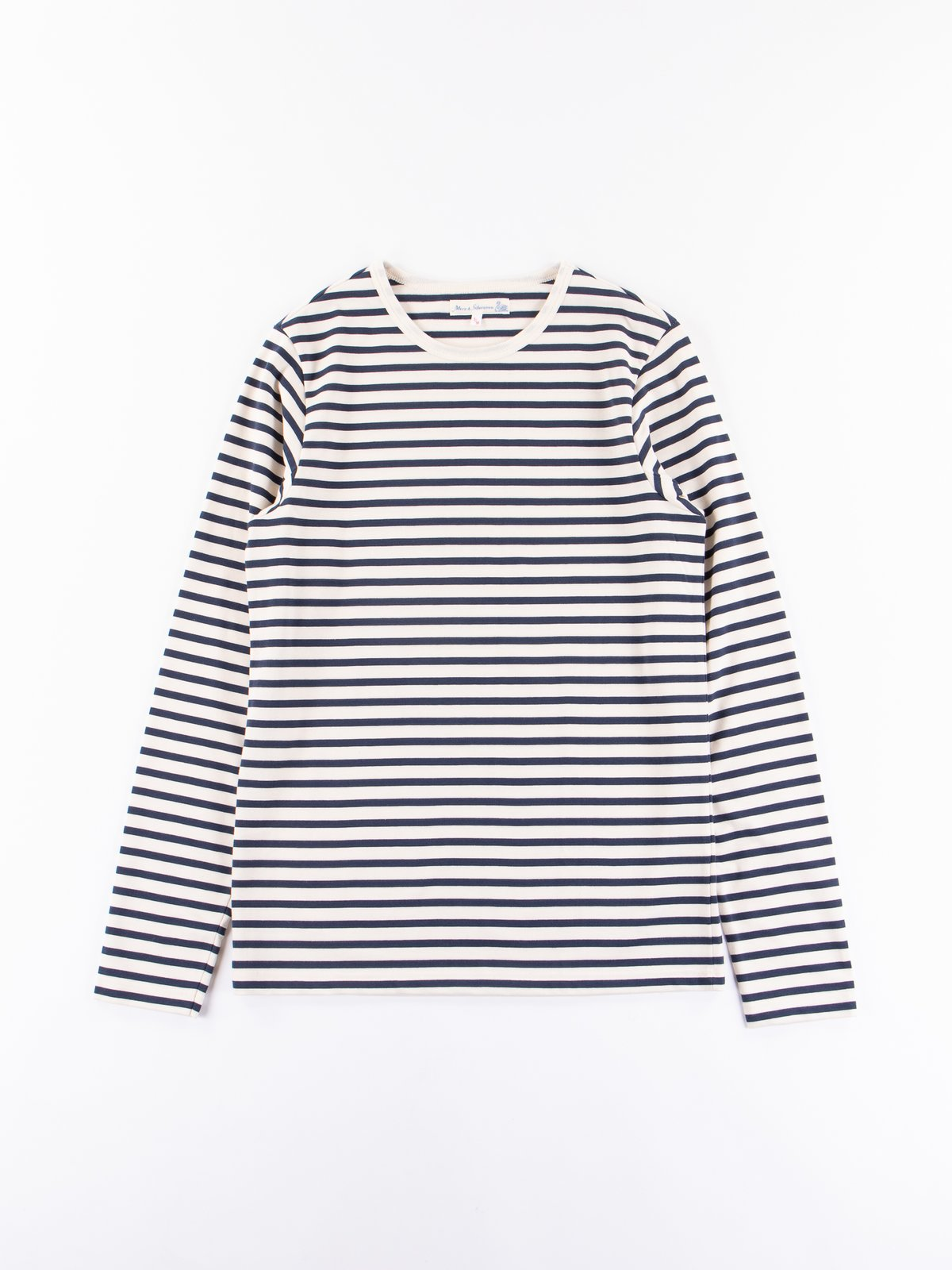 Ink/Natural Stripe 2M12 Crew Neck Long Sleeve Tee - Image 1