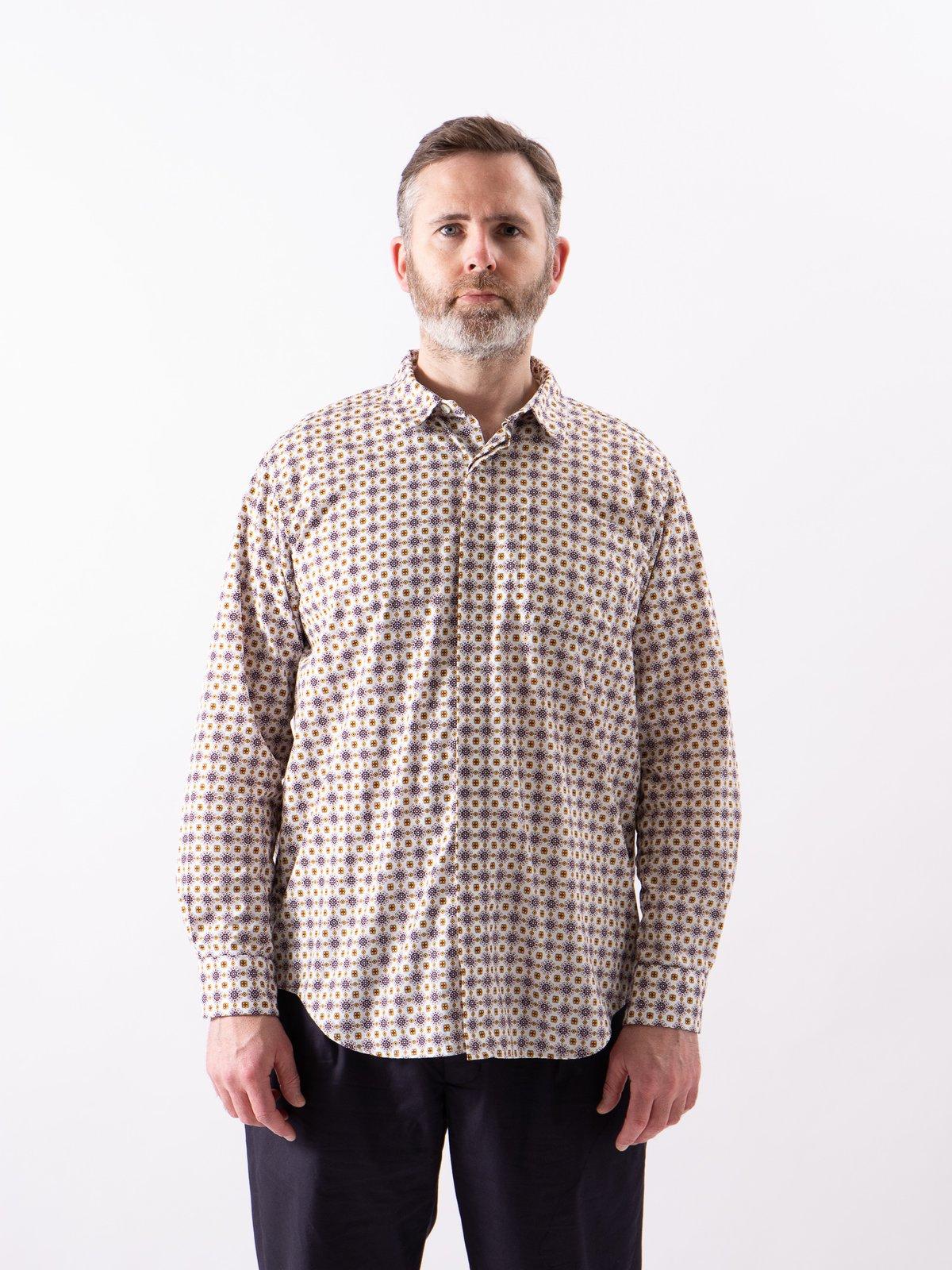 White Floral Foulard Print Short Collar Shirt - Image 2