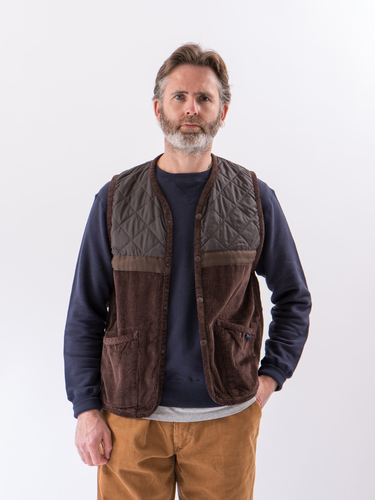 Brown Washed Cord Taped Gilet - Image 2