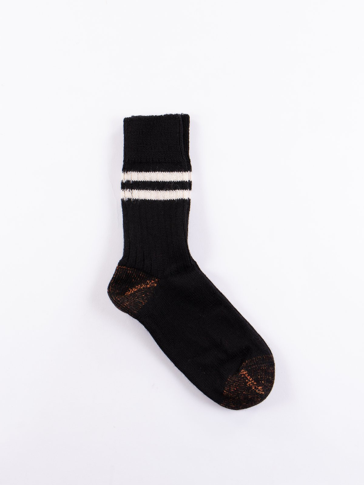 Deep Black/Natural S75 Wool Striped Sport Sock - Image 1