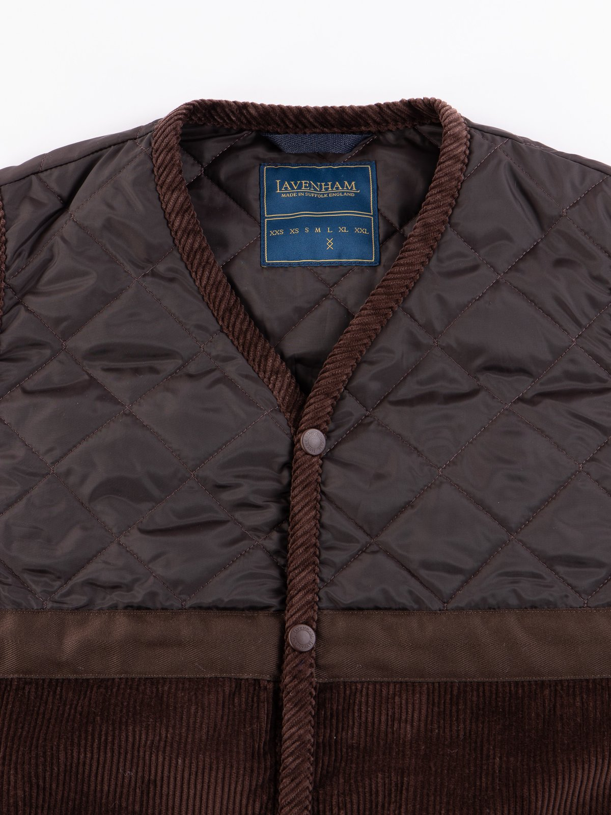 Brown Washed Cord Taped Gilet - Image 3