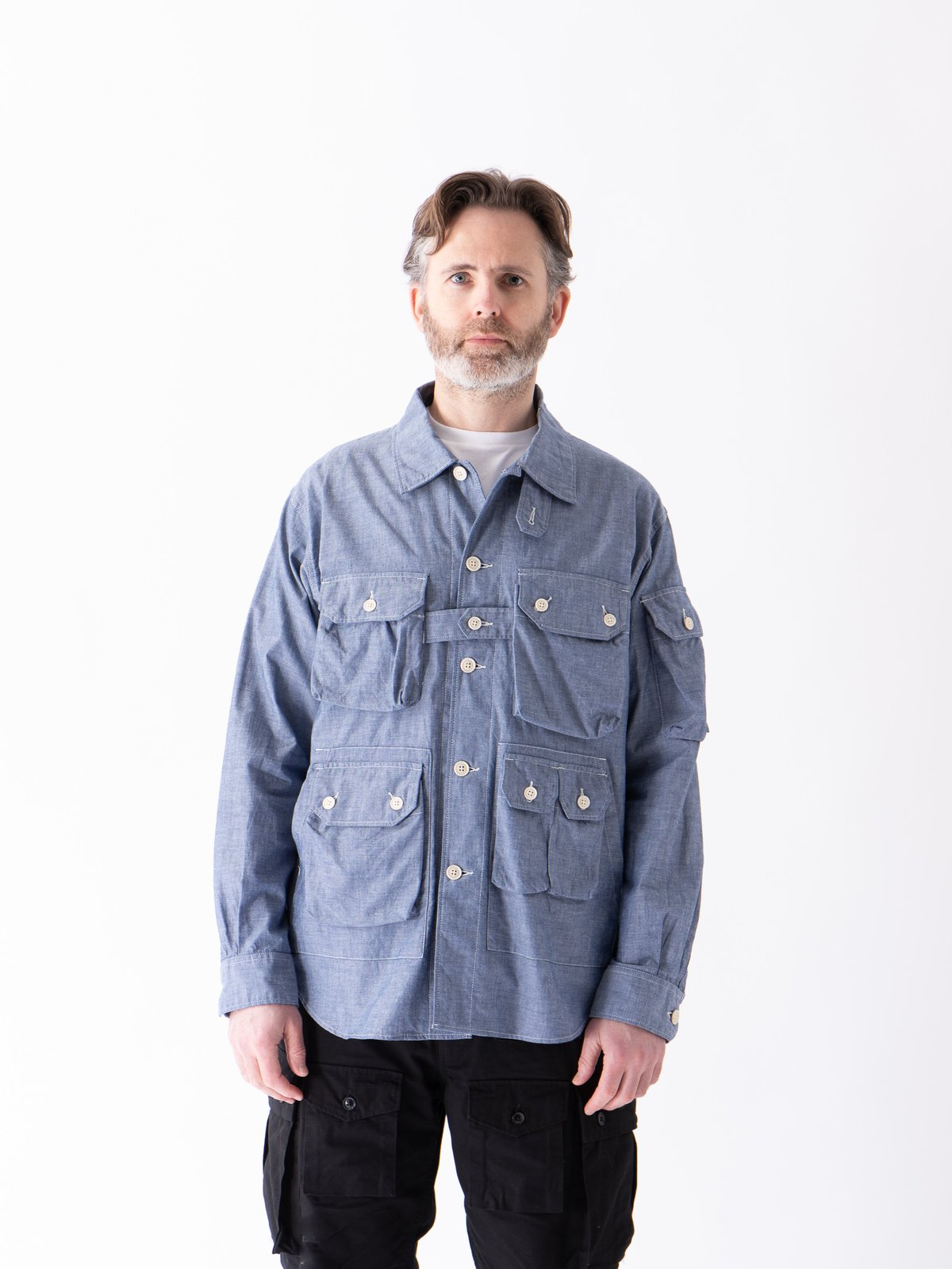 Blue Cotton Chambray Explorer Shirt Jacket - Image 2