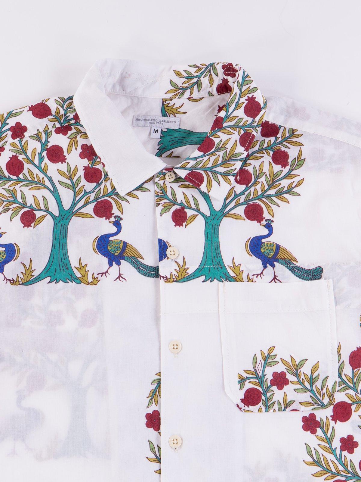 Natural Cotton Lawn Peacock Print Camp Shirt - Image 3