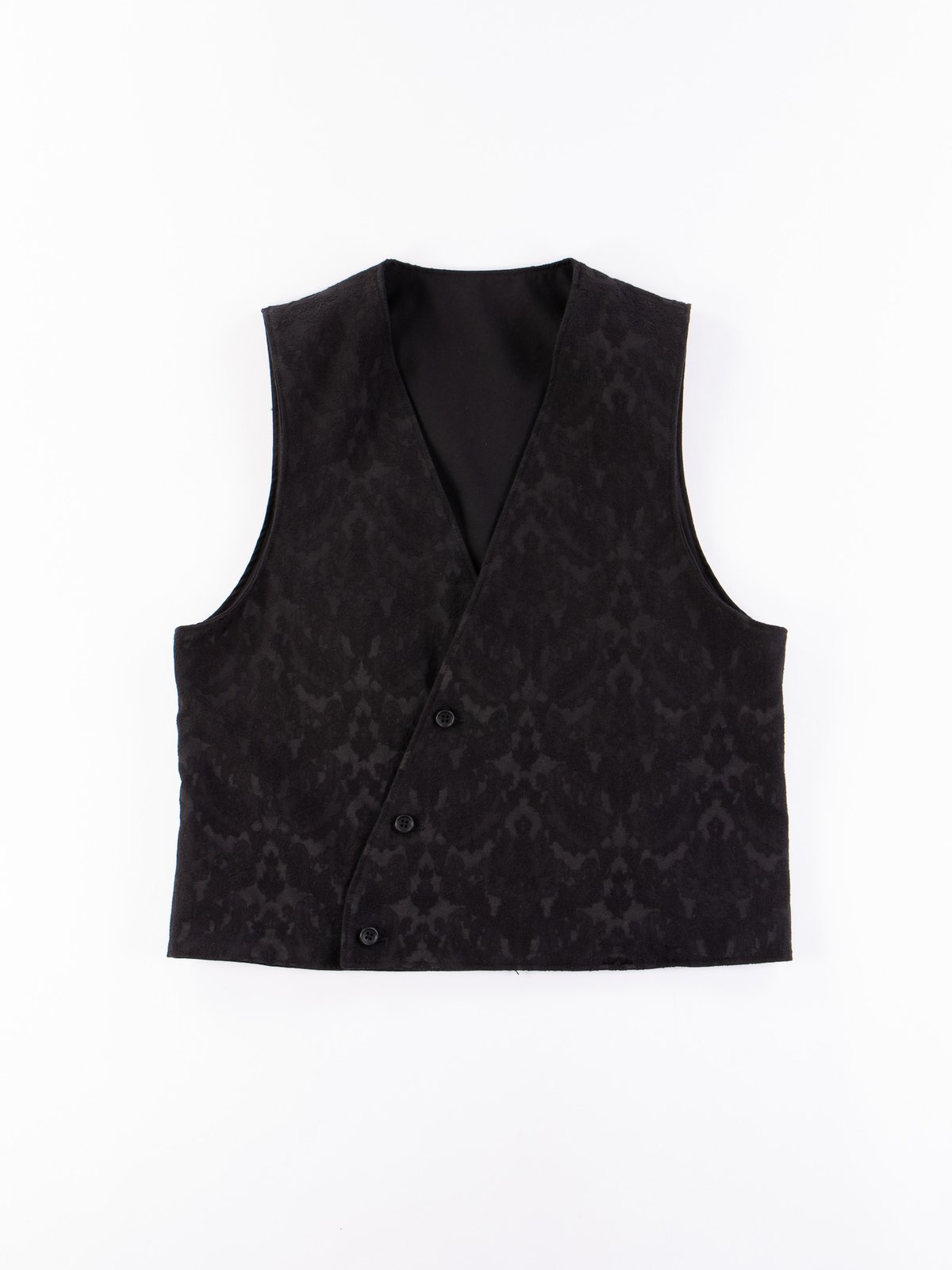 Black Worsted Wool Gabardine Reversible Vest - Image 7