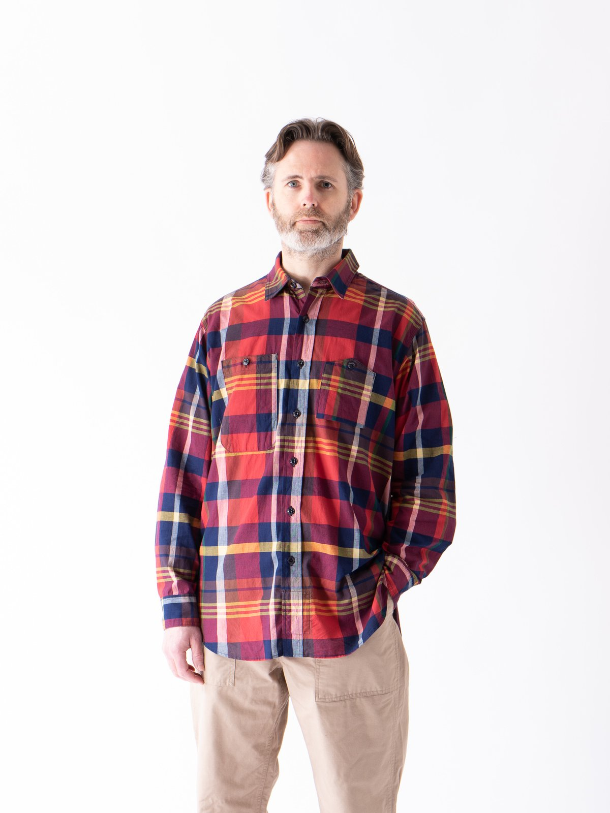 Red/Navy Cotton Big Madras Plaid Work Shirt - Image 2