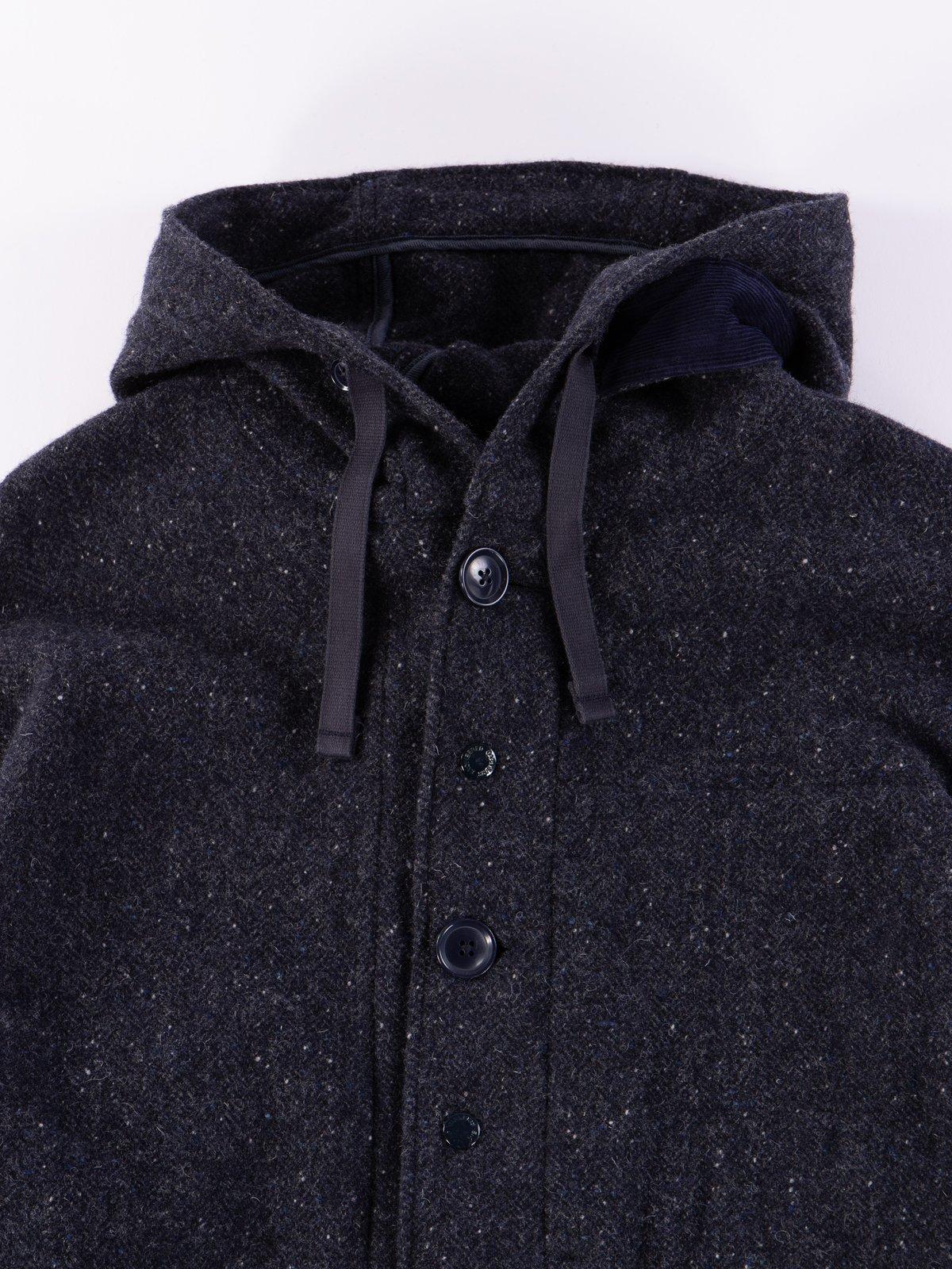 Navy Herringbone Donegal Wool Tweed Madison Parka - Image 4