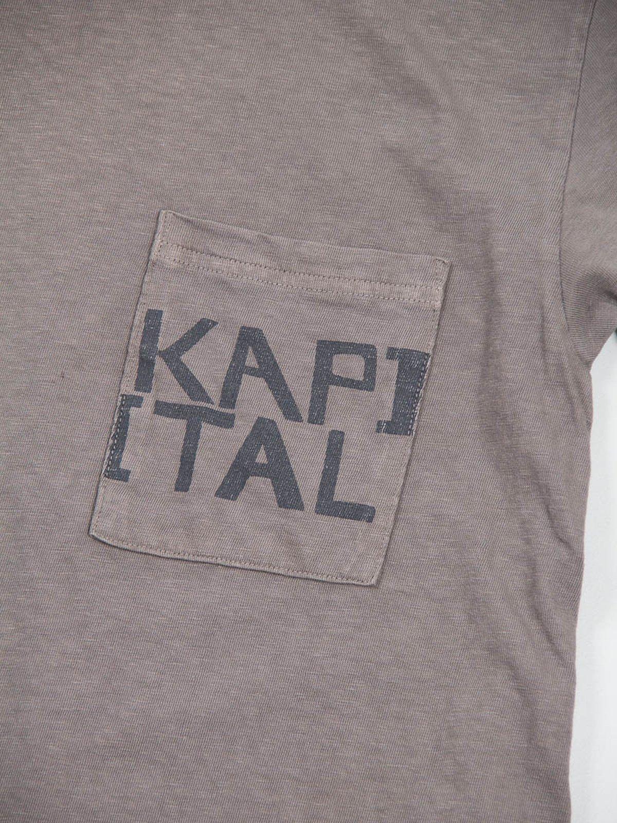 Charcoal Grey Kapital Jersey Crew Pocket T–Shirt - Image 3