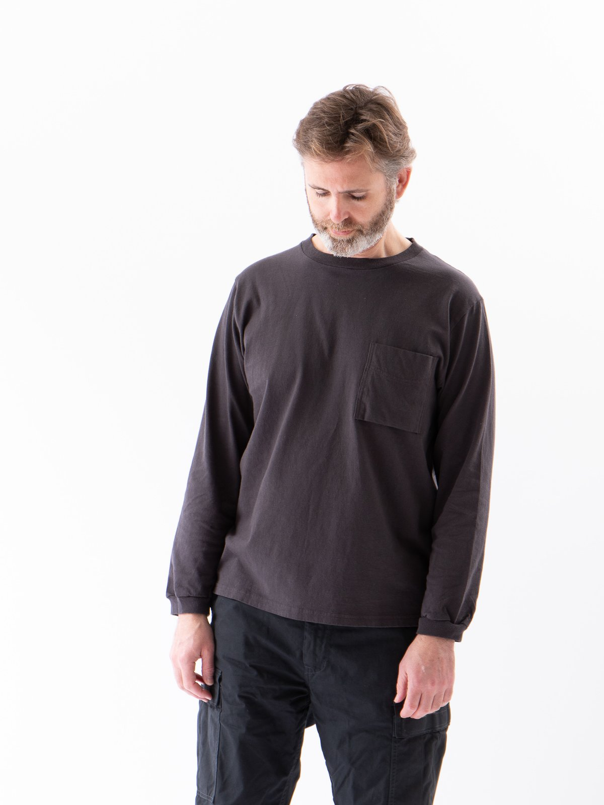Off Black Long Sleeve Pocket T–Shirt - Image 2