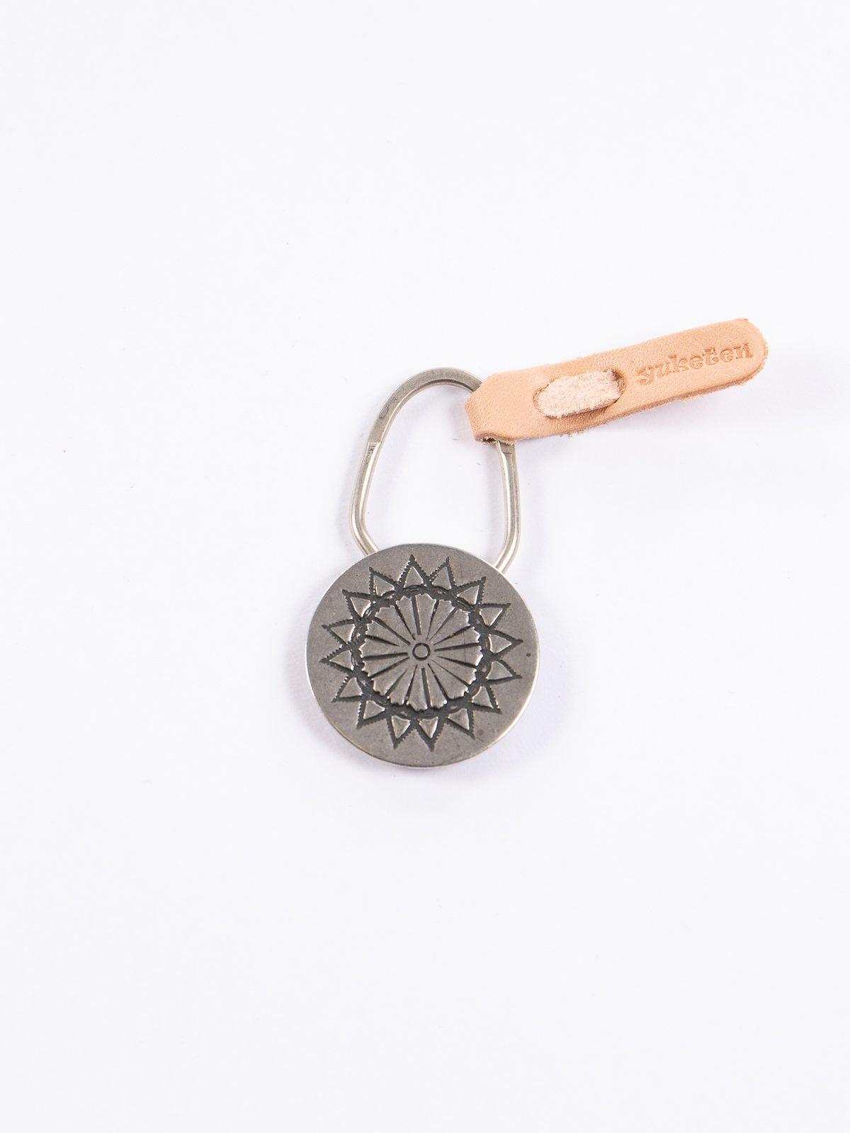 Nickel Silver Sun Flower Concho Keychain - Image 1