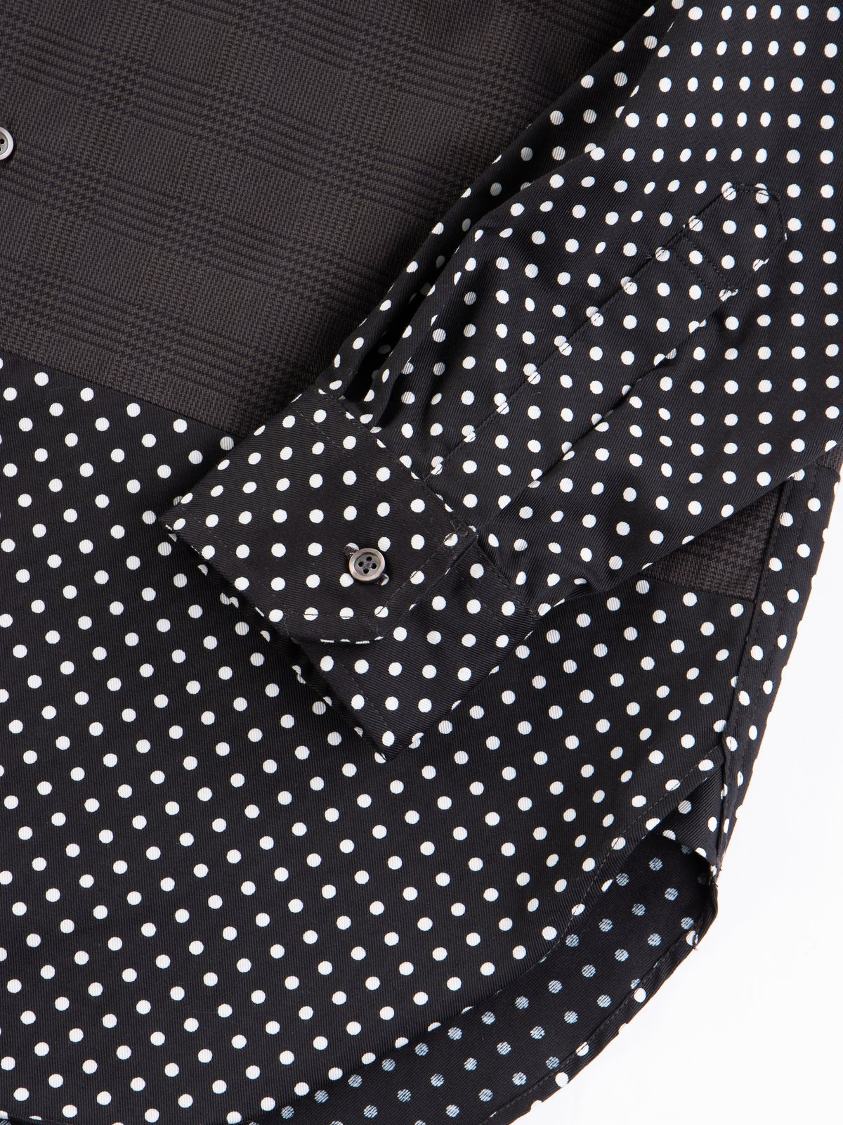 Grey Twill Printed Glen Plaid Spread Collar Shirt - Image 4