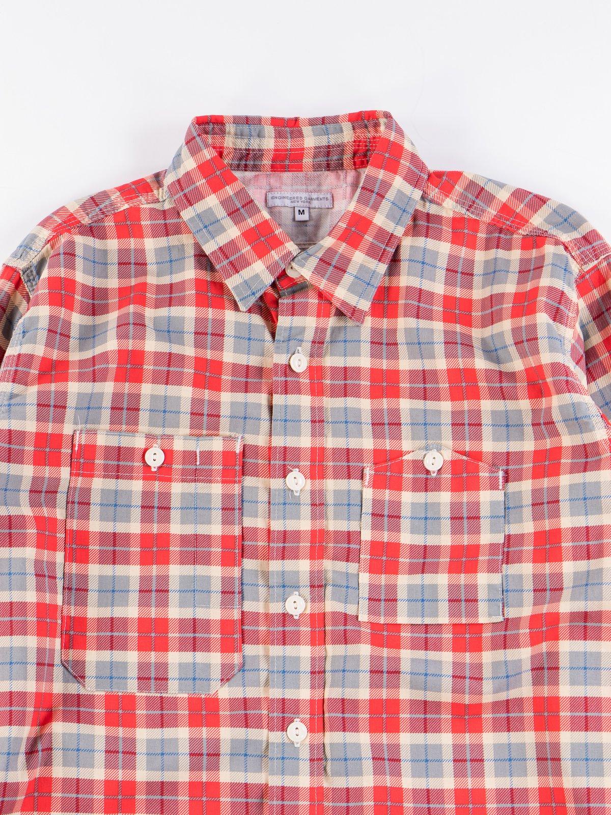 Red/Beige Cotton Printed Plaid Work Shirt - Image 4