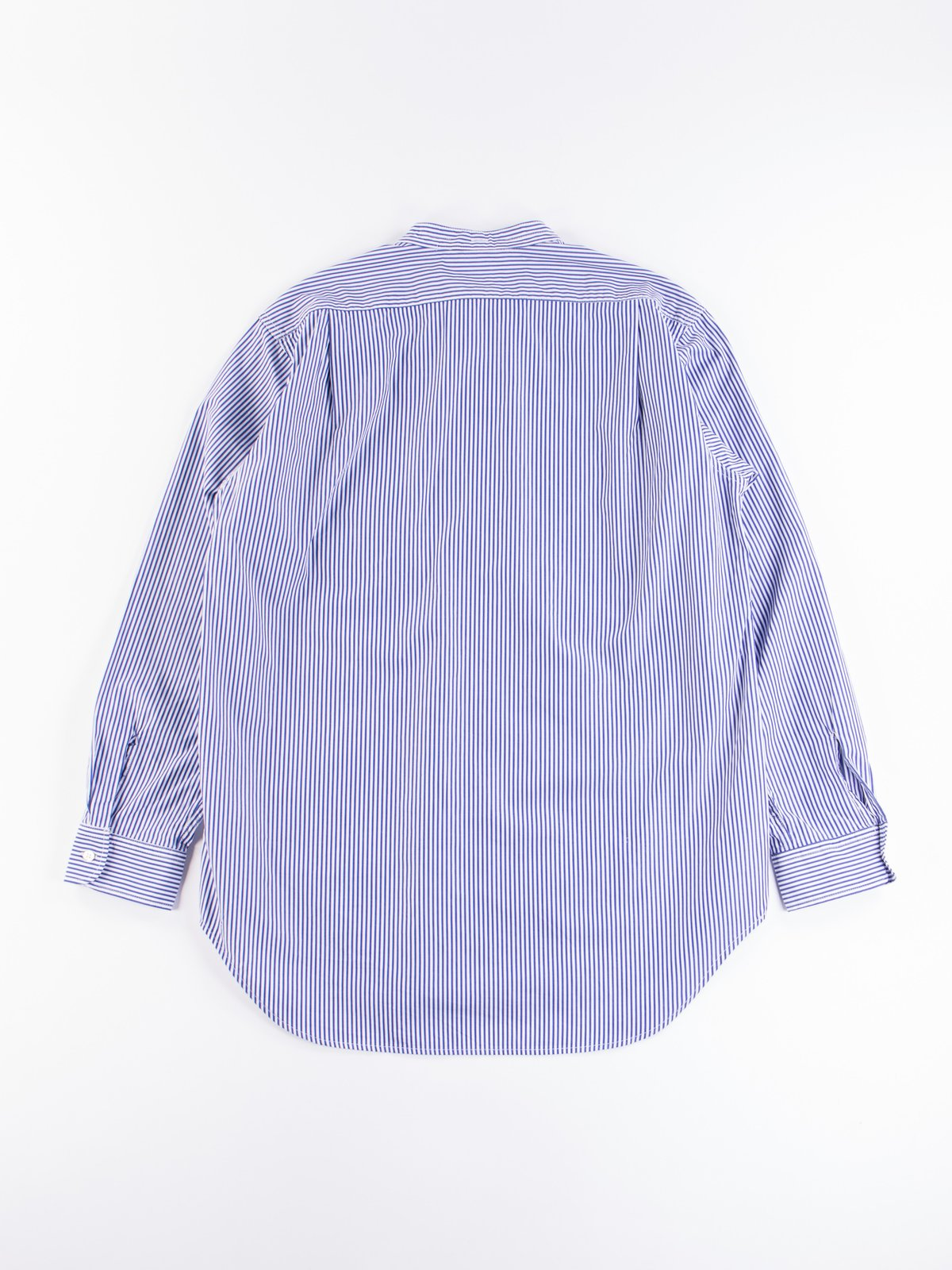 Blue/White Candy Stripe Broadcloth Banded Collar Shirt - Image 6