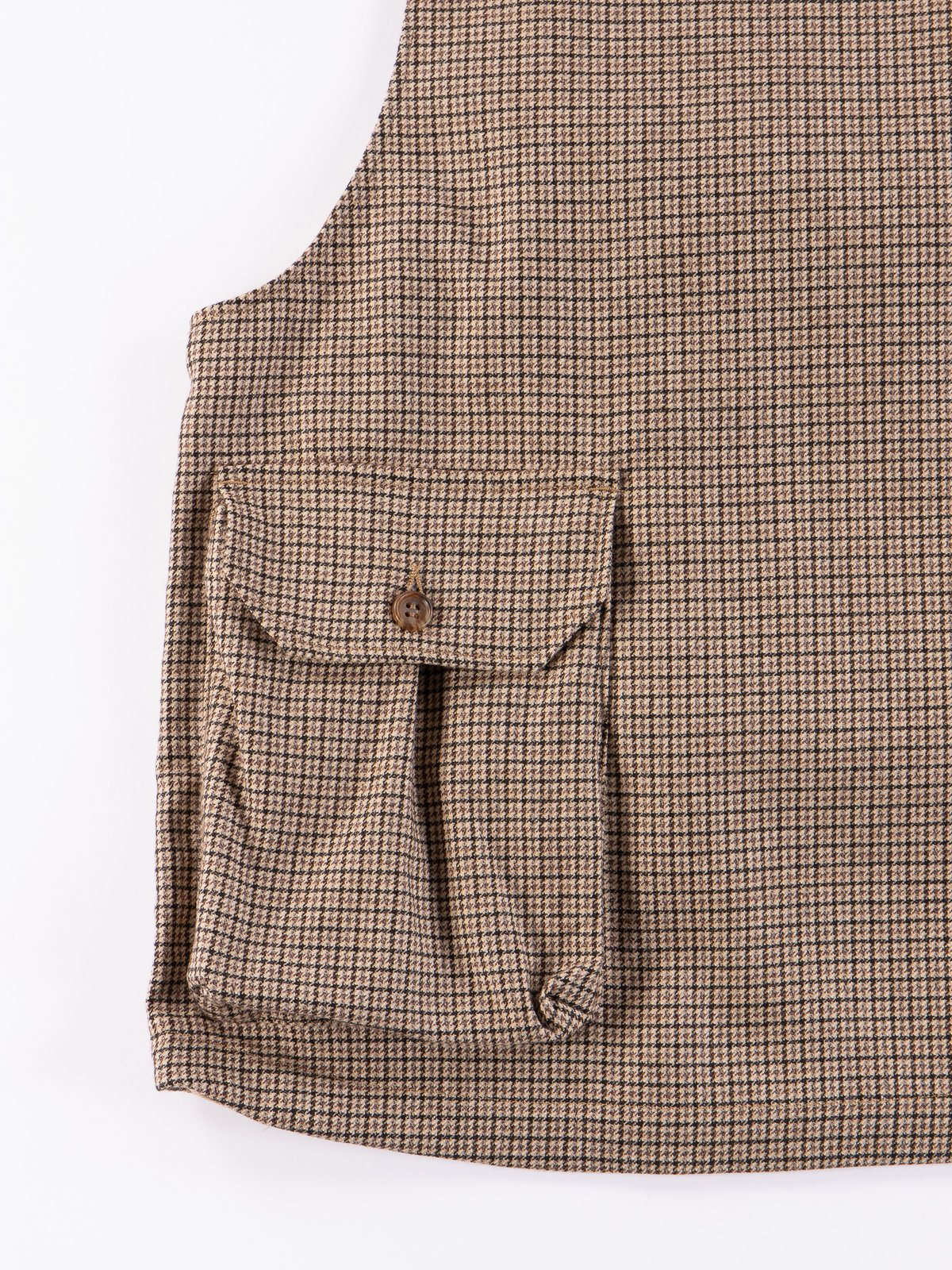Brown Wool Poly Gunclub Check Cover Vest - Image 5