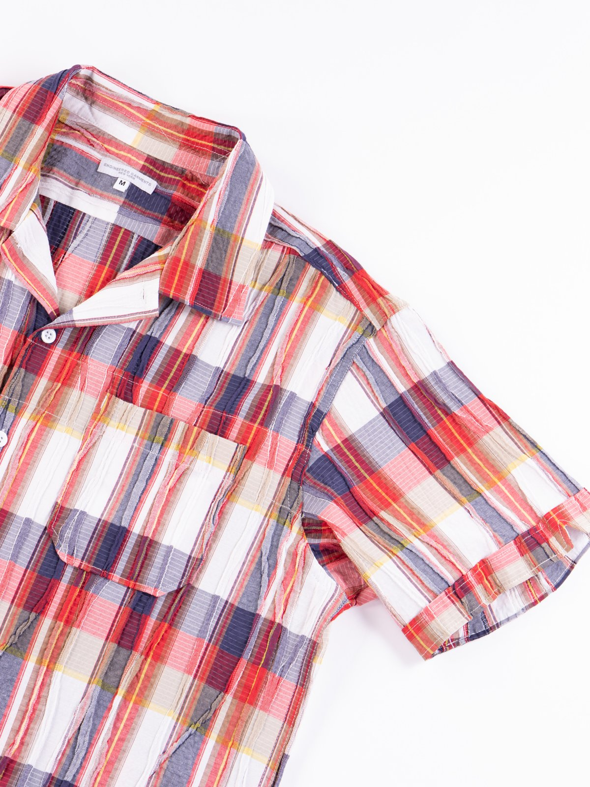 Red/White Cotton Crepe Check Camp Shirt - Image 5