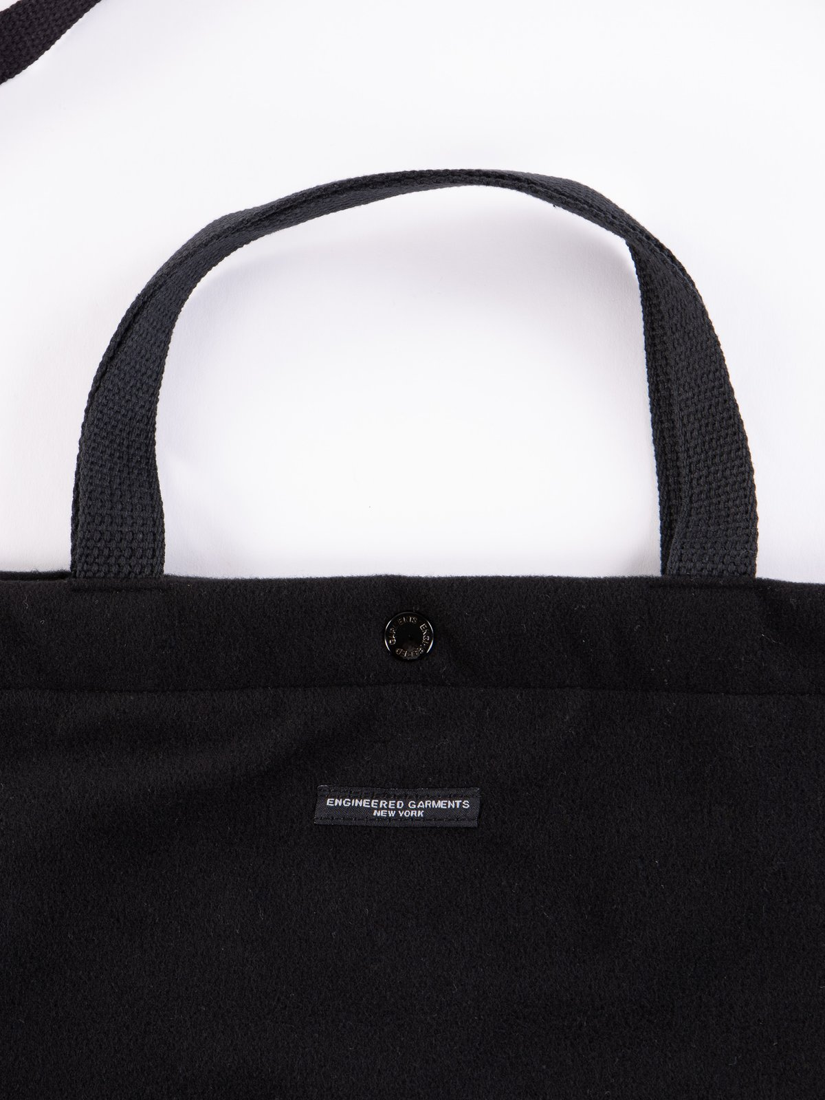 Black Polyester Fake Melton Carry All Tote - Image 2