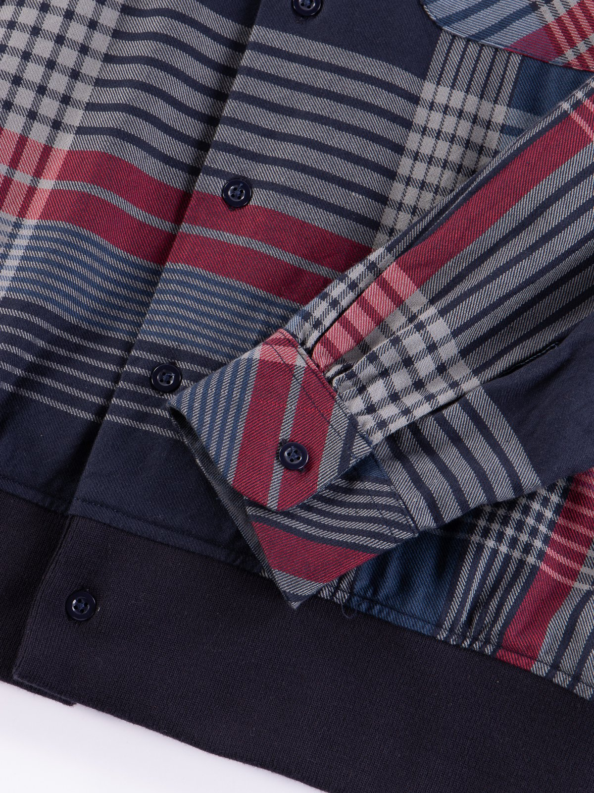 Navy/Grey/Red Cotton Twill Classic Shirt - Image 5