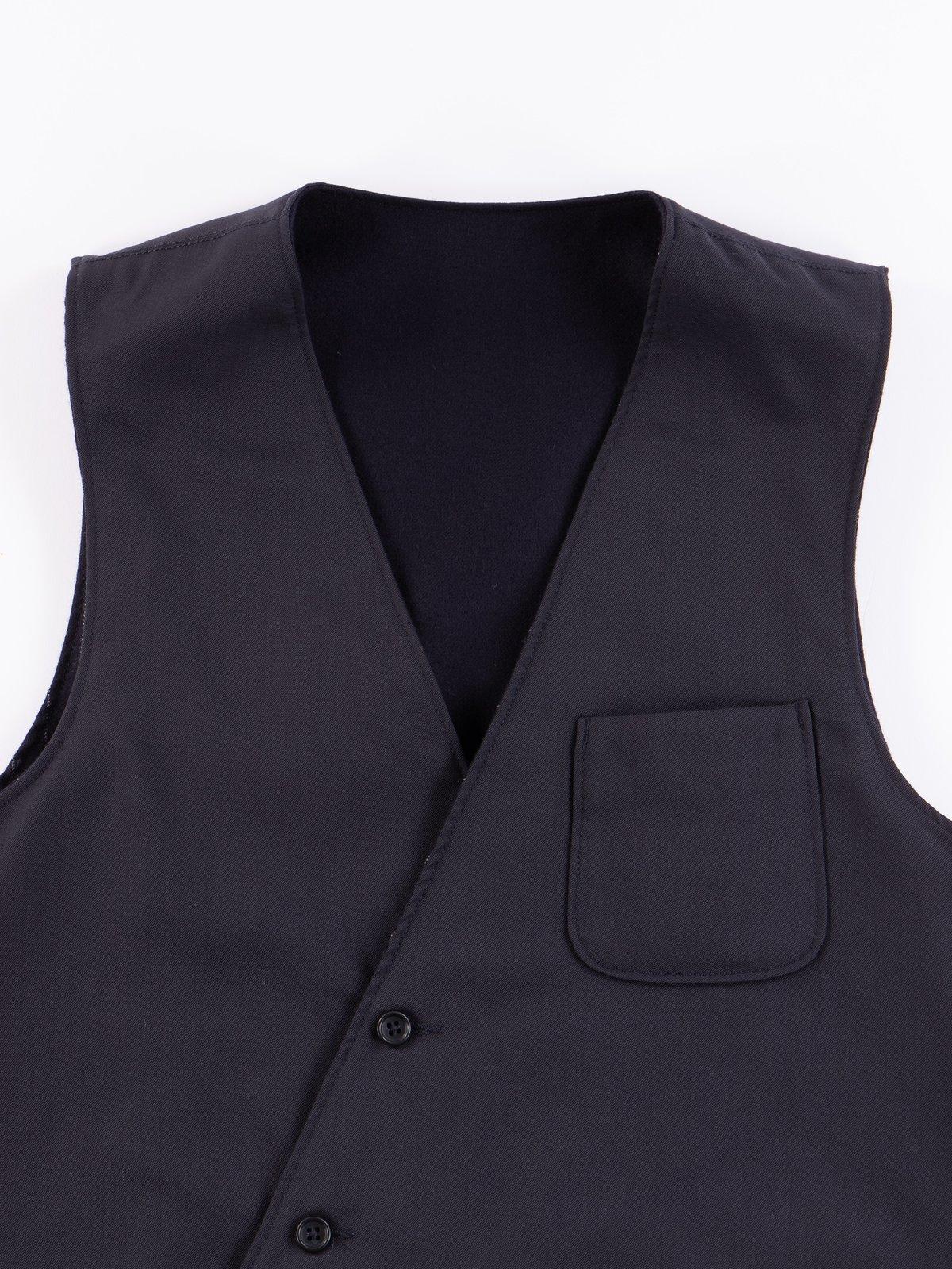 Dark Navy Worsted Wool Gabardine Reversible Vest - Image 3