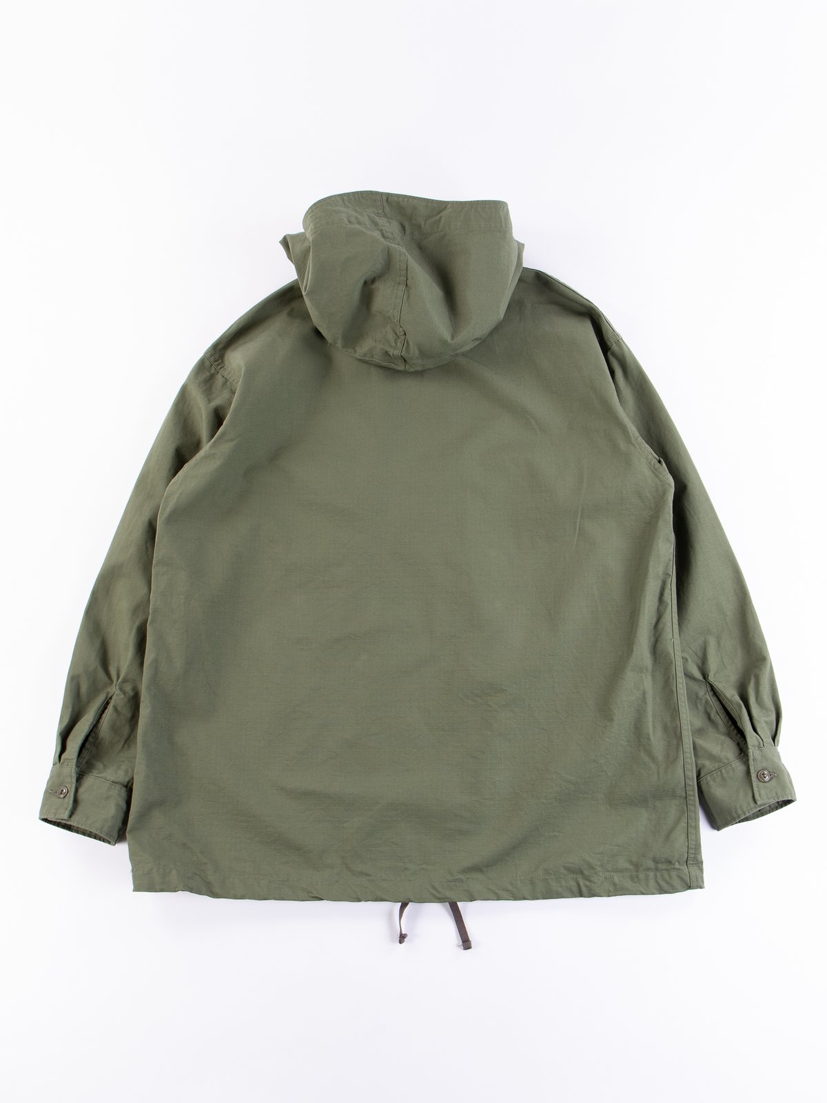 Olive Cotton Ripstop Cagoule Shirt - Image 8