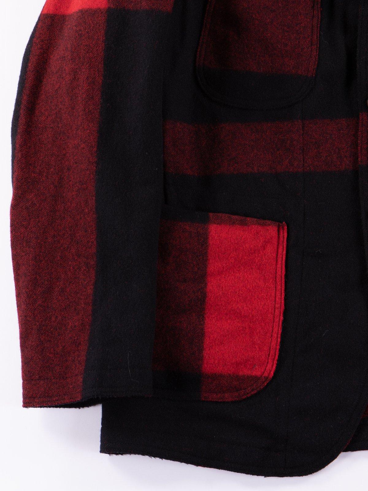 Black Big Plaid Wool Melton RE Bedford Jacket - Image 4