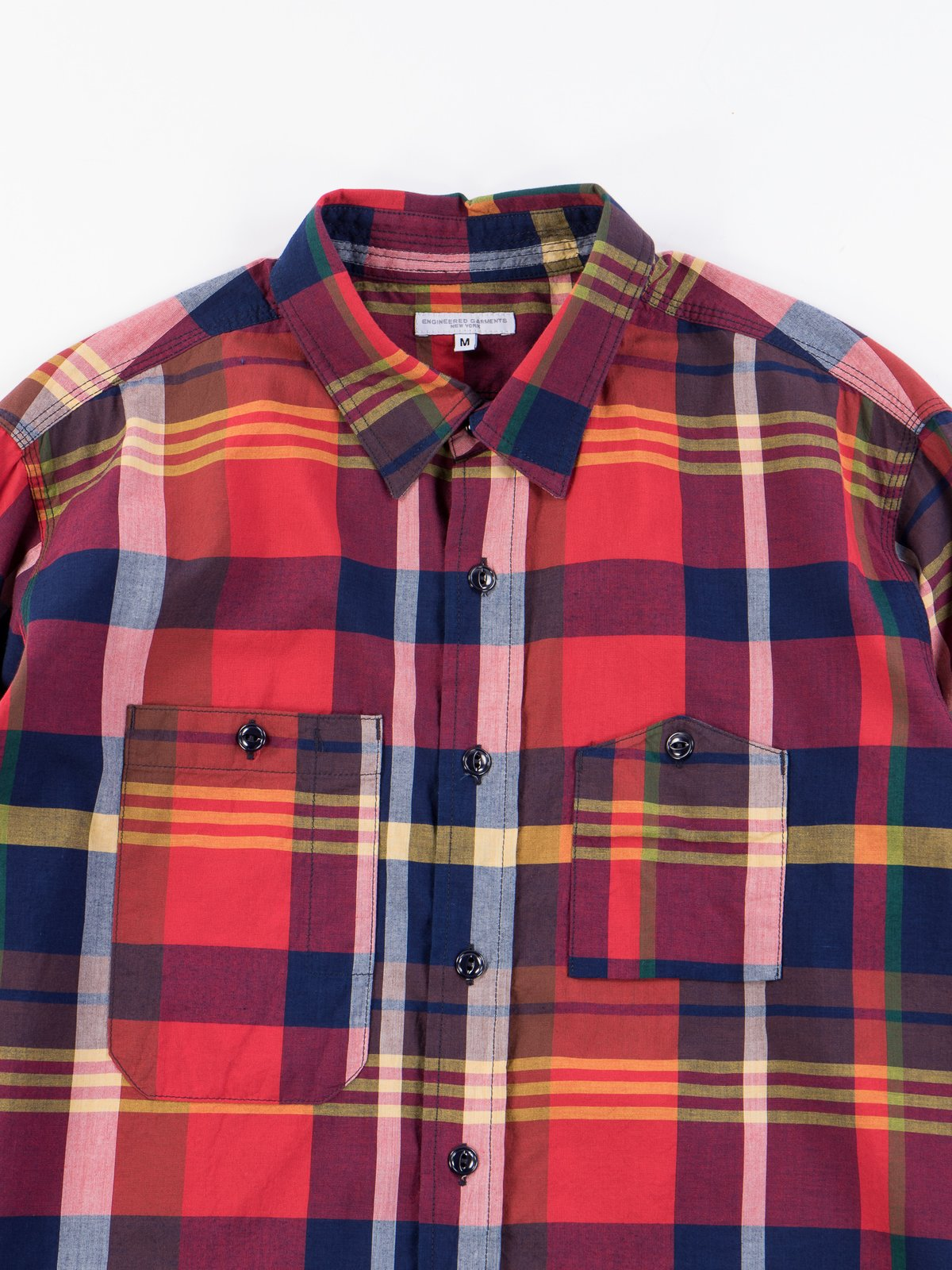 Red/Navy Cotton Big Madras Plaid Work Shirt - Image 3