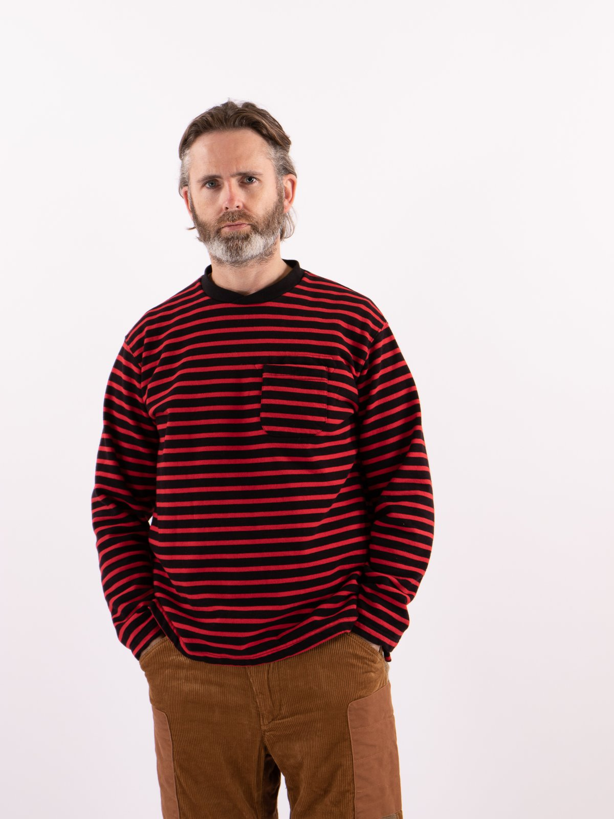 Black/Red Stripe 20oz French Terry Long Sleeve Crew Neck - Image 2