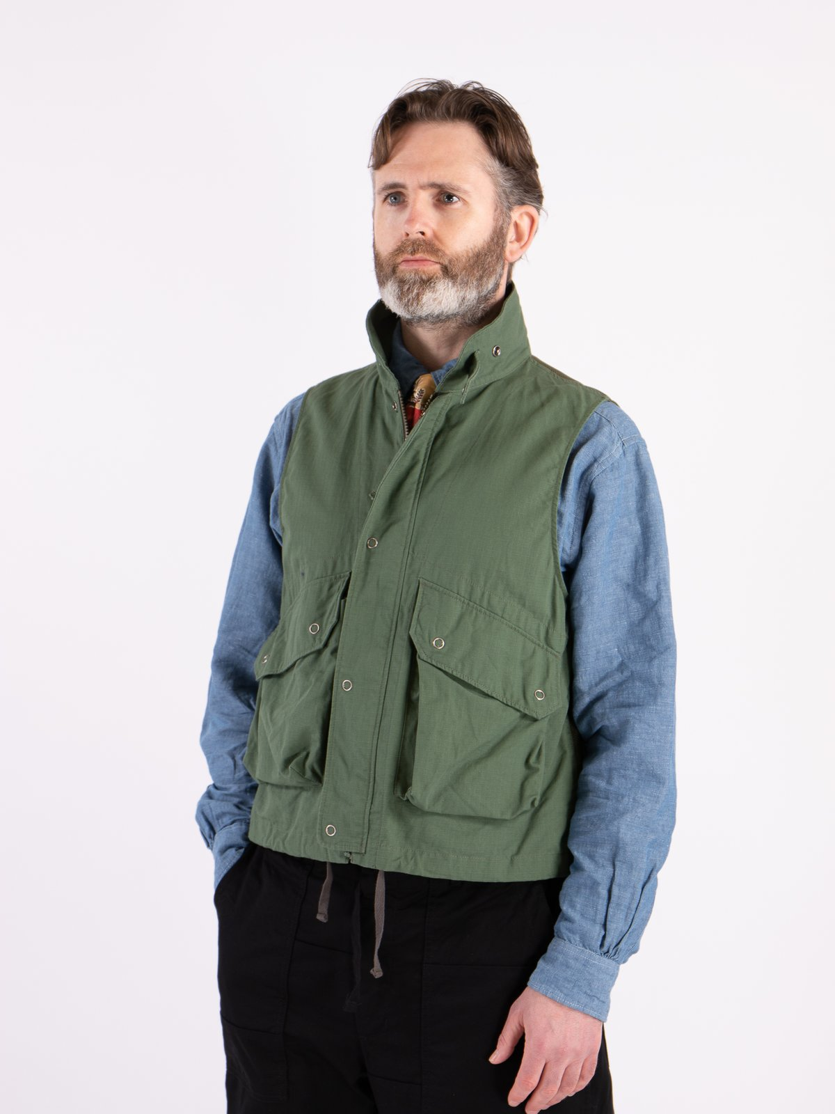 Olive Cotton Ripstop Field Vest - Image 2